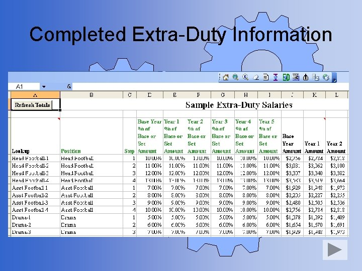 Completed Extra-Duty Information