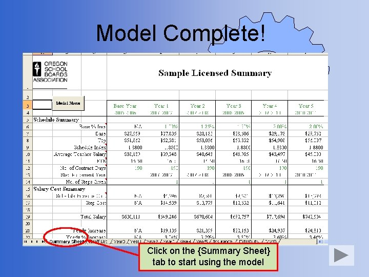 Model Complete! Click on the {Summary Sheet} tab to start using the model