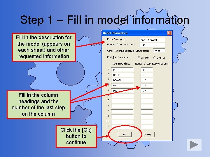 Step 1 – Fill in model information Fill in the description for the model