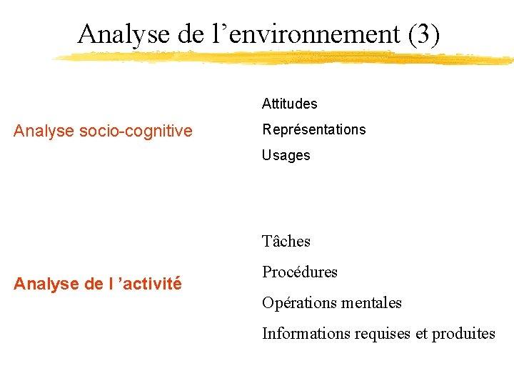 Analyse de l'environnement (3) Attitudes Analyse socio-cognitive Représentations Usages Tâches Analyse de l 'activité