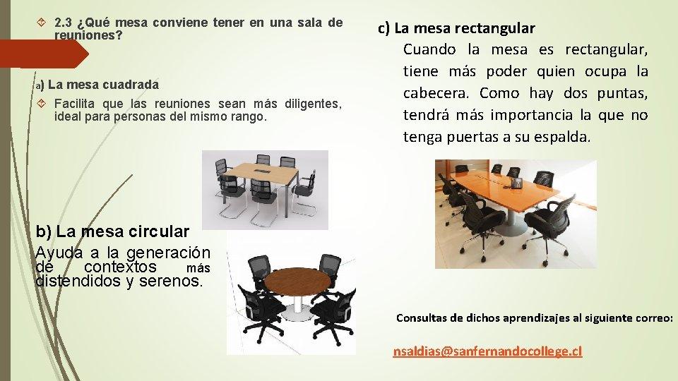 2. 3 ¿Qué mesa conviene tener en una sala de reuniones? a) La