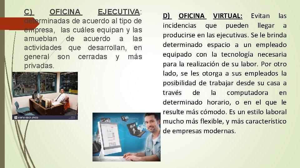 C) OFICINA EJECUTIVA: determinadas de acuerdo al tipo de empresa, las cuáles equipan y