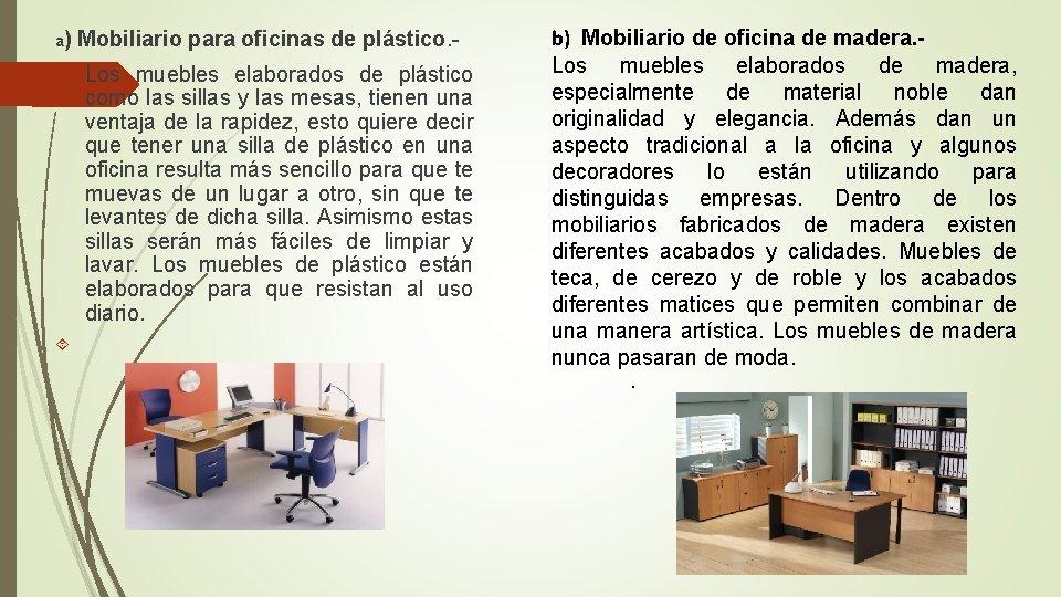 a) Mobiliario para oficinas de plástico. - Los muebles elaborados de plástico como las
