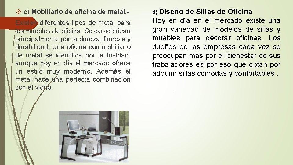 c) Mobiliario de oficina de metal. - d) Diseño de Sillas de Oficina