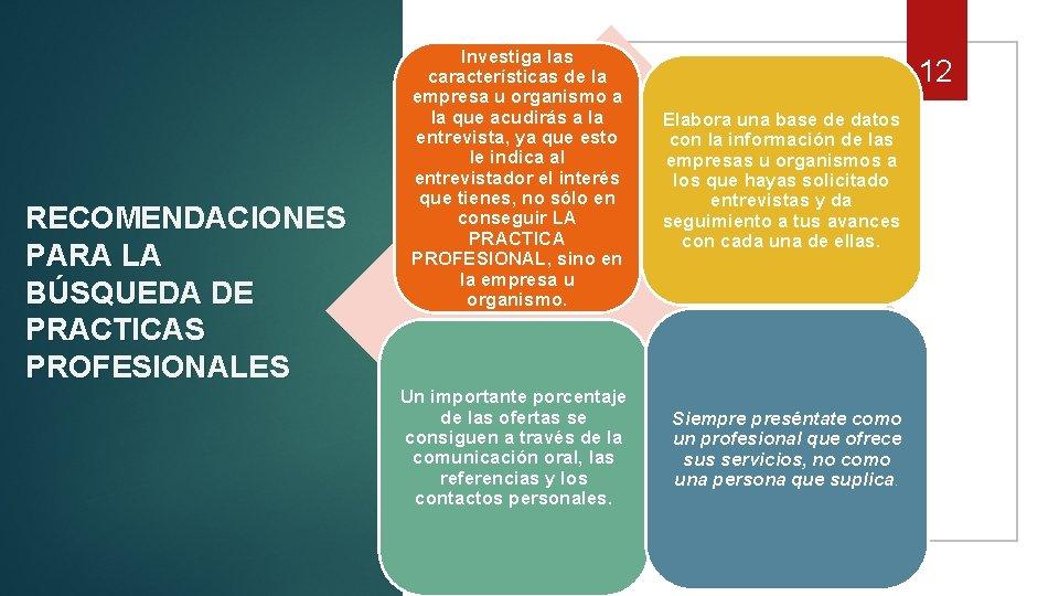 RECOMENDACIONES PARA LA BÚSQUEDA DE PRACTICAS PROFESIONALES Investiga las características de la empresa u