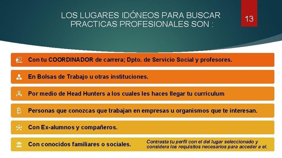 LOS LUGARES IDÓNEOS PARA BUSCAR PRACTICAS PROFESIONALES SON : 13 Con tu COORDINADOR de