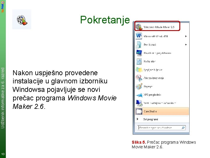 Udžbenik informatike za 6. razred Pokretanje Nakon uspješno provedene instalacije u glavnom izborniku Windowsa