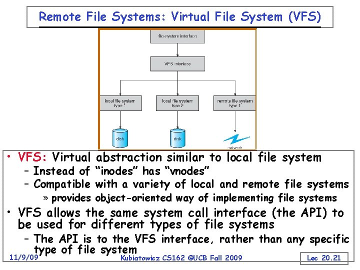 Remote File Systems: Virtual File System (VFS) • VFS: Virtual abstraction similar to local