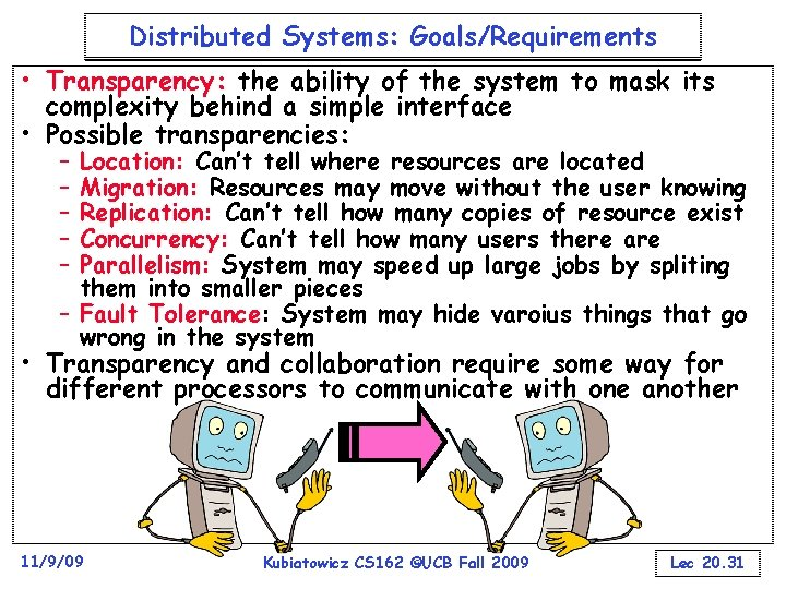 Distributed Systems: Goals/Requirements • Transparency: the ability of the system to mask its complexity
