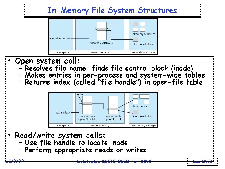 In-Memory File System Structures • Open system call: – Resolves file name, finds file