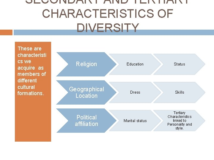 SECONDARY AND TERTIARY CHARACTERISTICS OF DIVERSITY These are characteristi cs we acquire as members