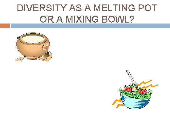 DIVERSITY AS A MELTING POT OR A MIXING BOWL?