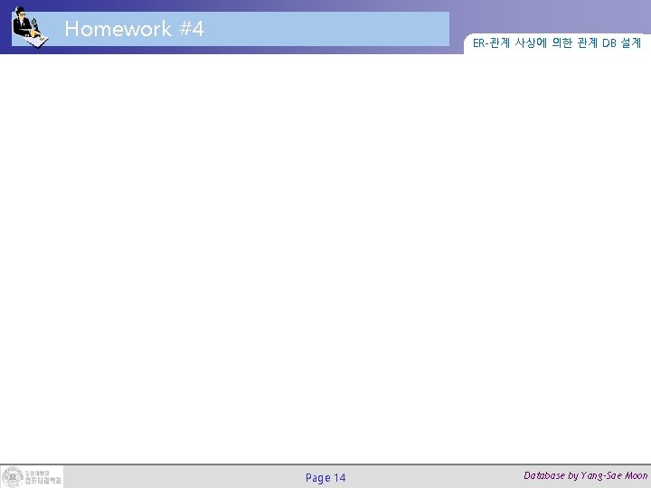 Homework #4 ER-관계 사상에 의한 관계 DB 설계 Page 14 Database by Yang-Sae Moon