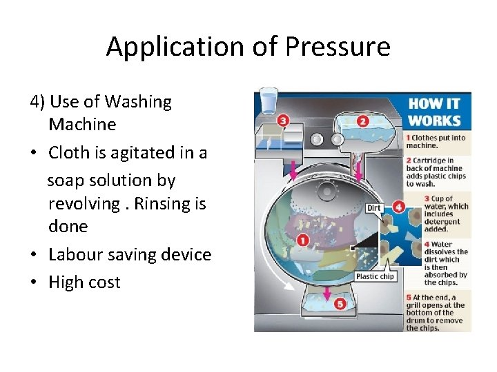 Application of Pressure 4) Use of Washing Machine • Cloth is agitated in a