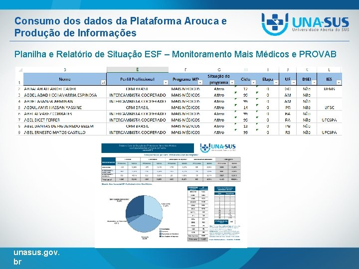 Consumo dos da Plataforma Arouca e Produção de Informações Planilha e Relatório de Situação