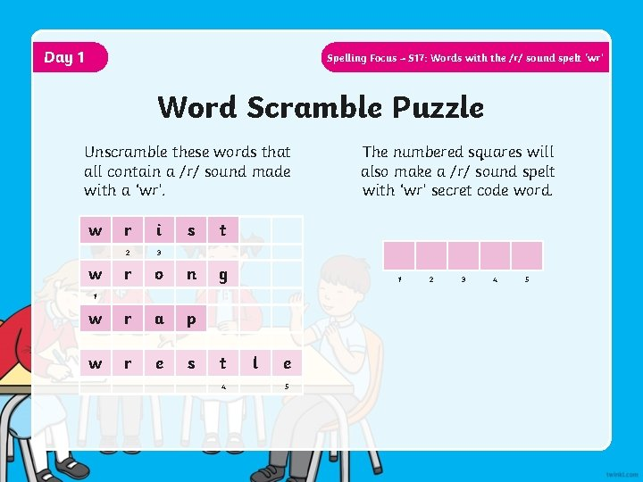 Day 1 Spelling Focus – S 17: Words with the /r/ sound spelt 'wr'