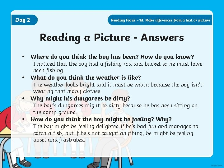 Day 2 Reading Focus – 1 d: Make inferences from a text or picture
