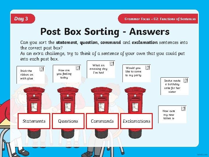 Day 3 Grammar Focus – G 2: Functions of Sentences Post Box Sorting -