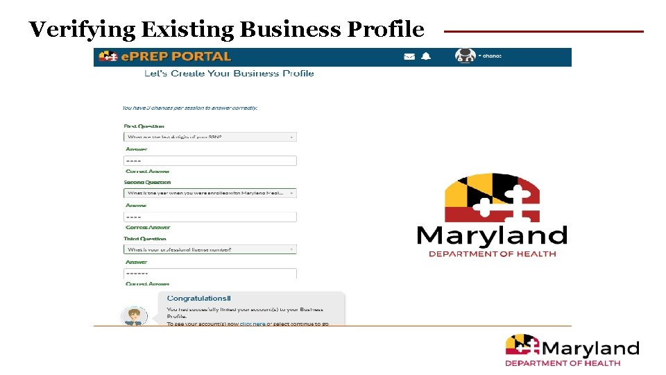 Verifying Existing Business Profile