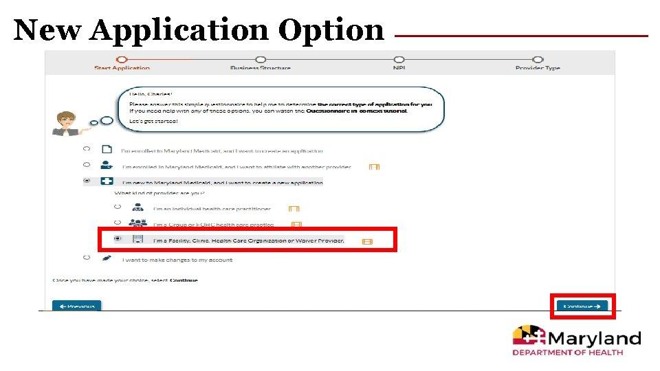 New Application Option