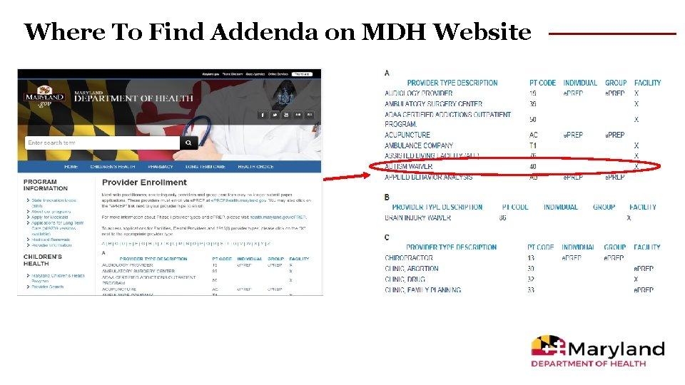 Where To Find Addenda on MDH Website