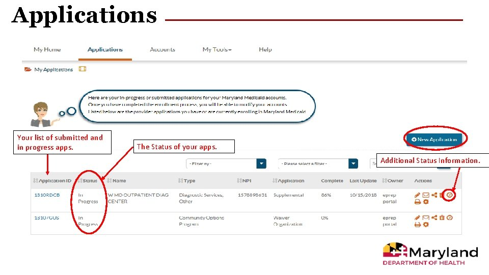 Applications Your list of submitted and in progress apps. The Status of your apps.
