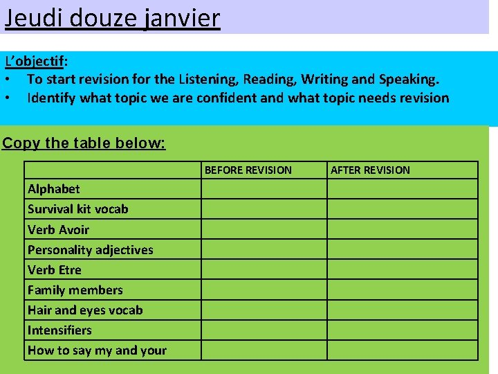Jeudi douze janvier L'objectif: • To start revision for the Listening, Reading, Writing and