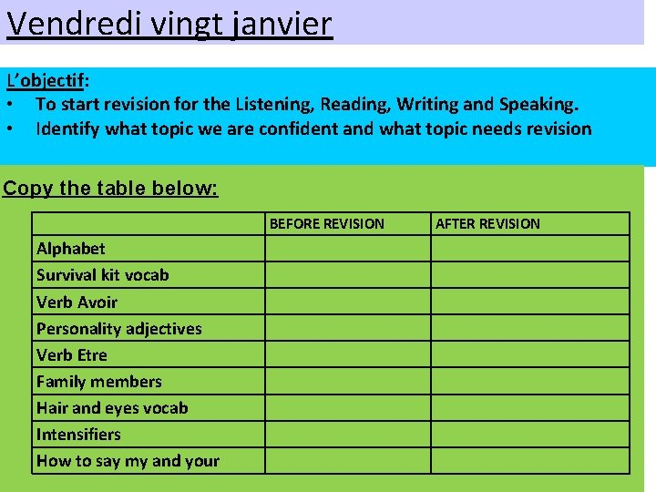 Vendredi vingt janvier L'objectif: • To start revision for the Listening, Reading, Writing and