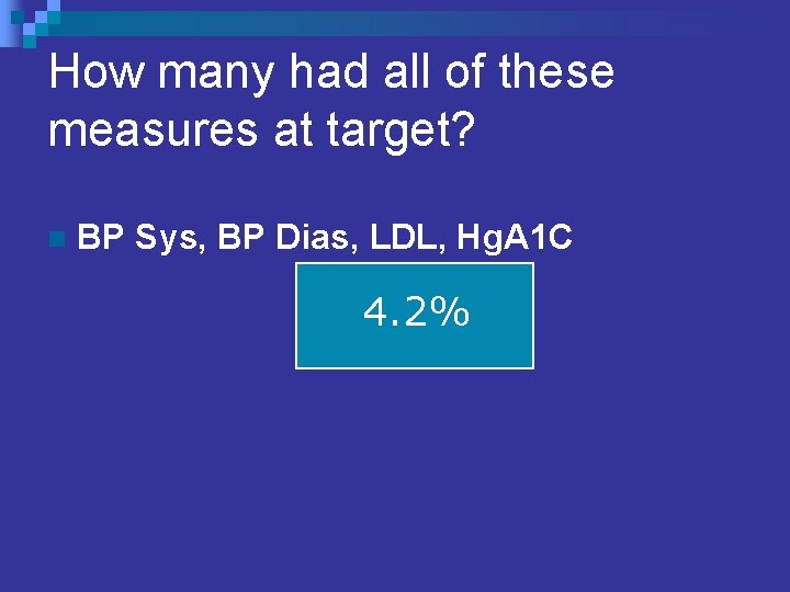 How many had all of these measures at target? n BP Sys, BP Dias,