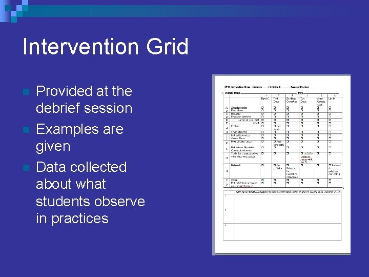 Intervention Grid n n n Provided at the debrief session Examples are given Data