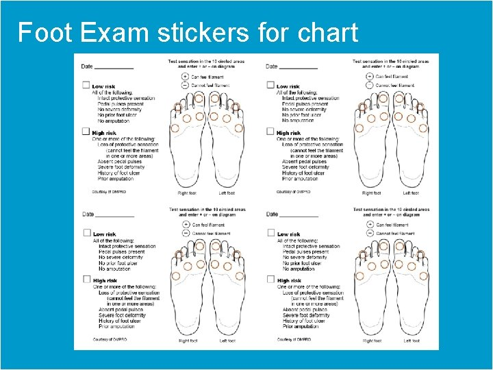 Foot Exam stickers for chart