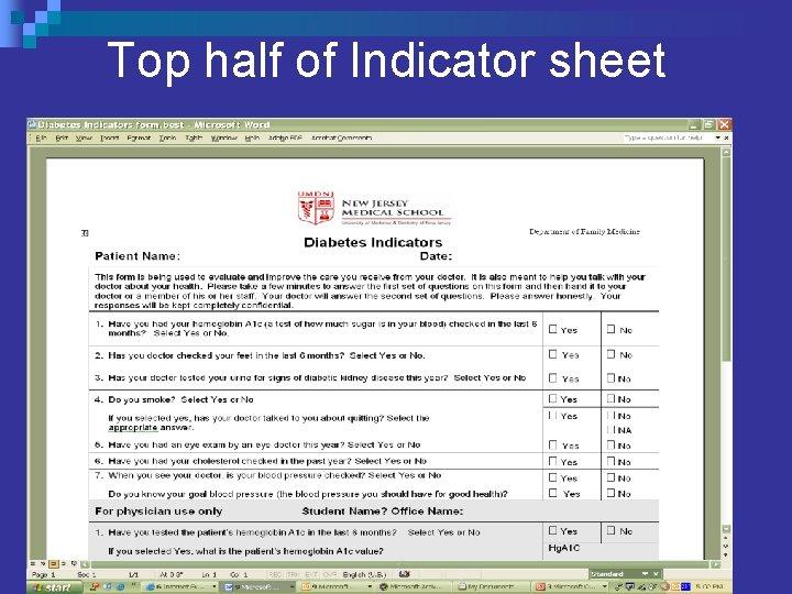 Top half of Indicator sheet