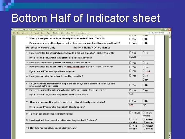 Bottom Half of Indicator sheet
