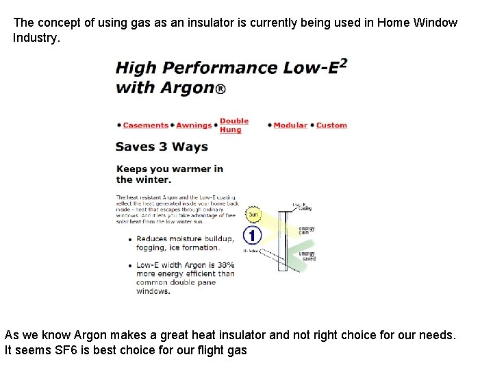 The concept of using gas as an insulator is currently being used in Home