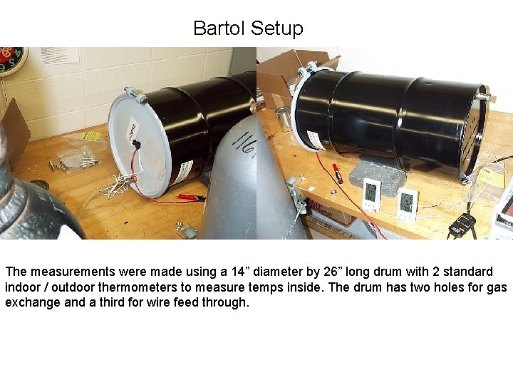 """Bartol Setup The measurements were made using a 14"""" diameter by 26"""" long drum"""