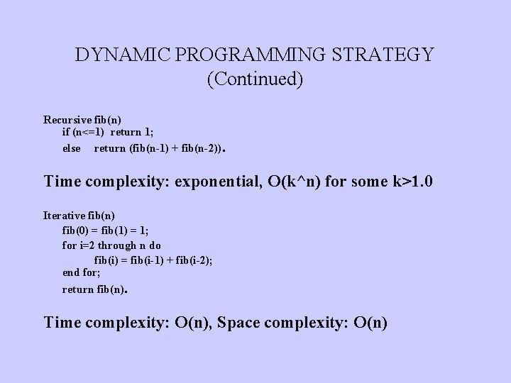 DYNAMIC PROGRAMMING STRATEGY (Continued) Recursive fib(n) if (n<=1) return 1; else return (fib(n-1) +