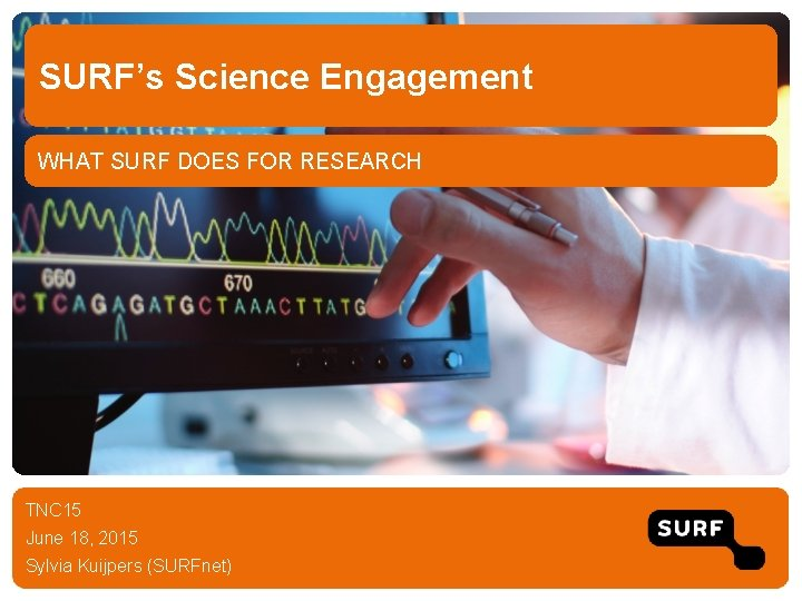 SURF's Science Engagement WHAT SURF DOES FOR RESEARCH TNC 15 June 18, 2015 Sylvia