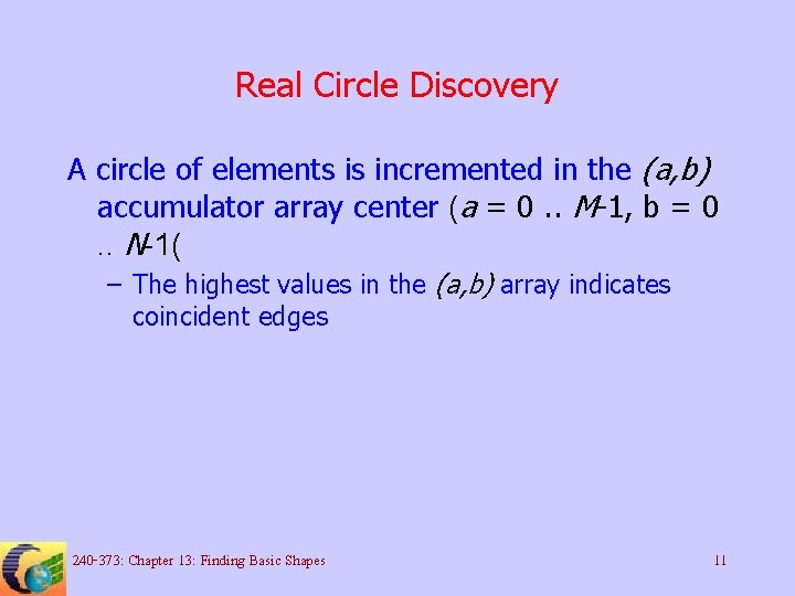 Real Circle Discovery A circle of elements is incremented in the (a, b) accumulator