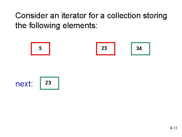 Consider an iterator for a collection storing the following elements: 5 next: 23 34