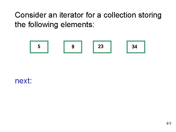 Consider an iterator for a collection storing the following elements: 5 9 23 34