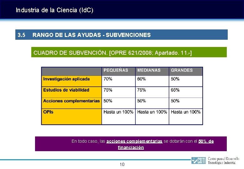 Industria de la Ciencia (Id. C) 3. 5 RANGO DE LAS AYUDAS - SUBVENCIONES