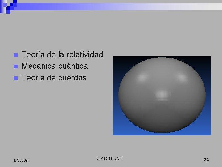 n n n Teoría de la relatividad Mecánica cuántica Teoría de cuerdas 4/4/2006 E.