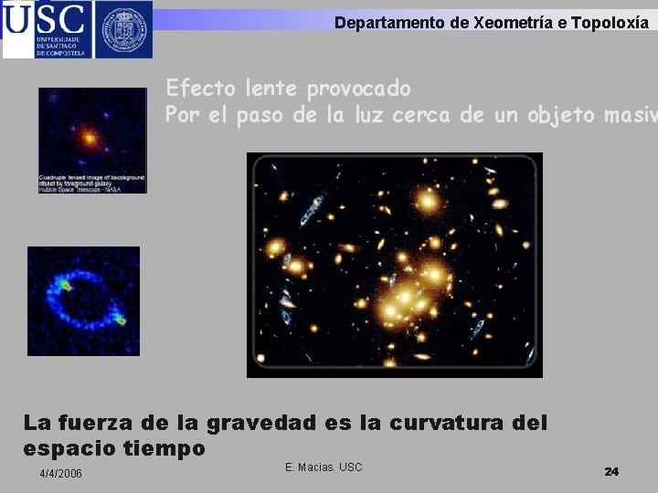 Departamento de Xeometría e Topoloxía Efecto lente provocado Por el paso de la luz