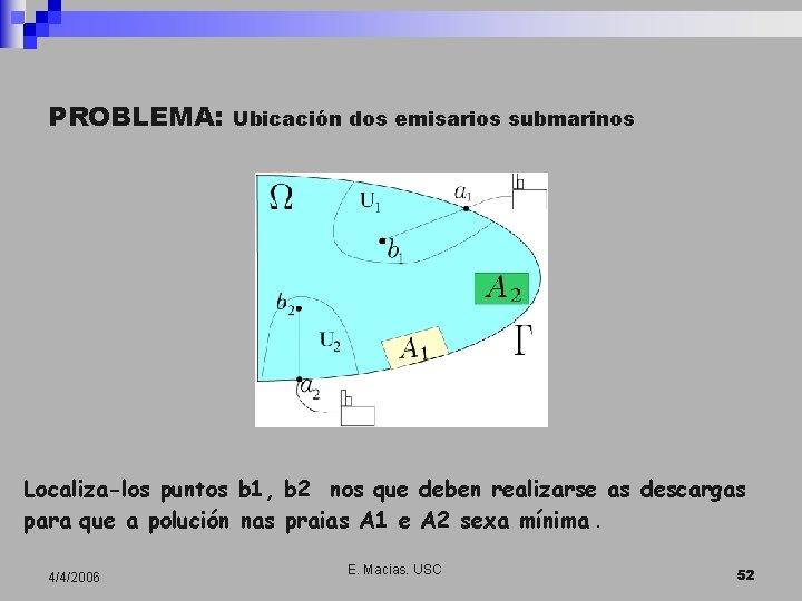 PROBLEMA: Ubicación dos emisarios submarinos Localiza-los puntos b 1, b 2 nos que deben