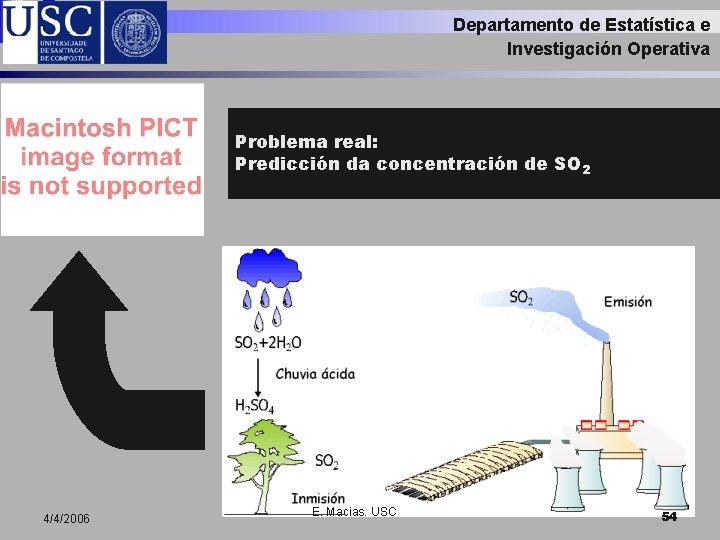 Departamento de Estatística e Investigación Operativa Problema real: Predicción da concentración de SO 2