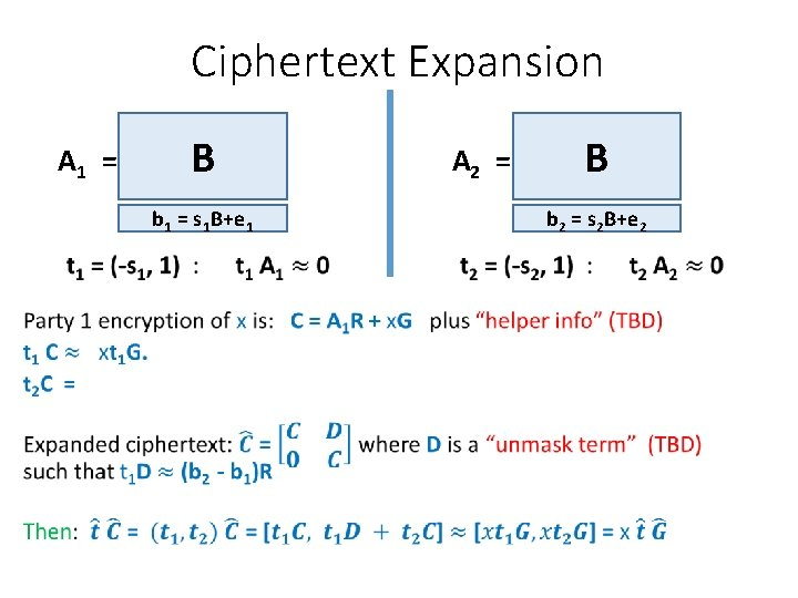 Ciphertext Expansion A 1 = B A 2 = b 1 = s 1
