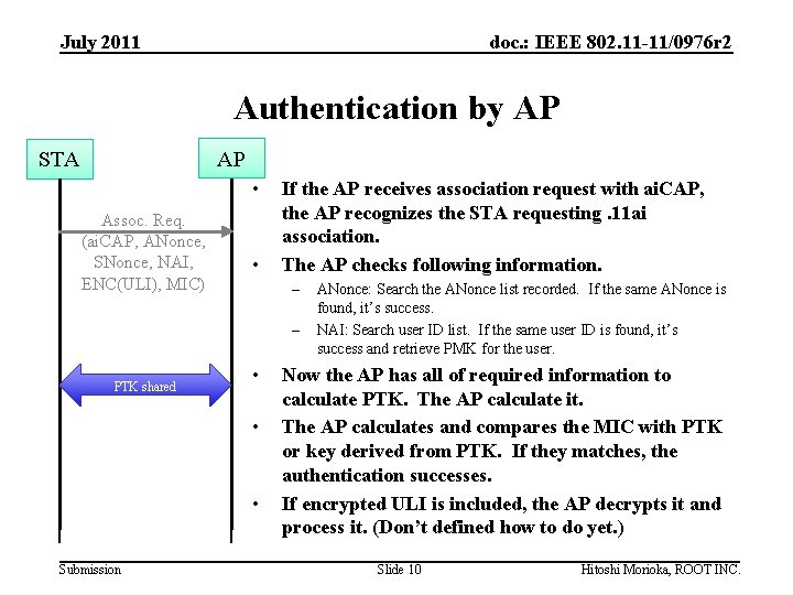 July 2011 doc. : IEEE 802. 11 -11/0976 r 2 Authentication by AP AP