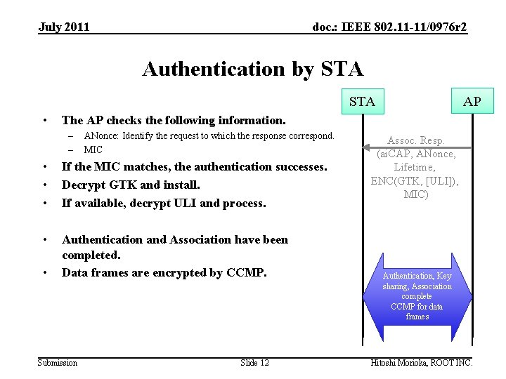 July 2011 doc. : IEEE 802. 11 -11/0976 r 2 Authentication by STA AP