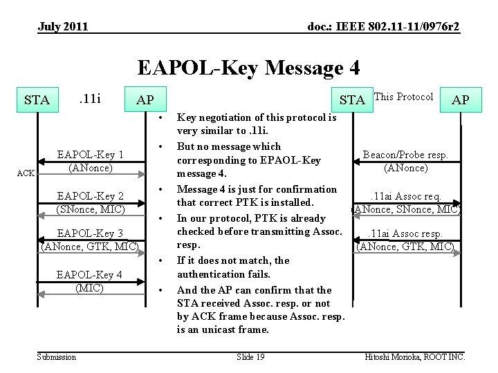 July 2011 doc. : IEEE 802. 11 -11/0976 r 2 EAPOL-Key Message 4. 11