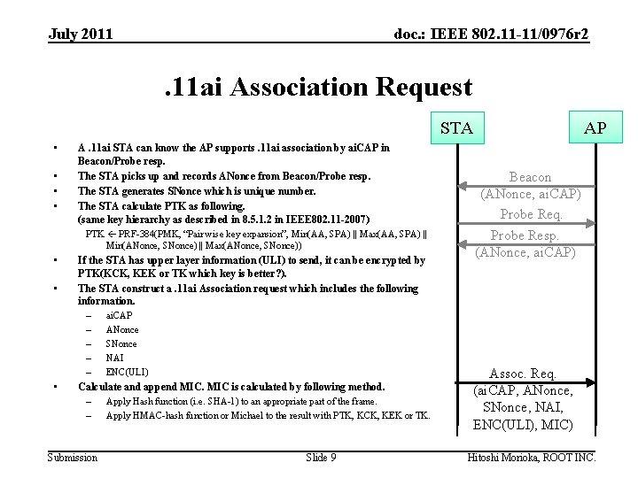 July 2011 doc. : IEEE 802. 11 -11/0976 r 2 . 11 ai Association